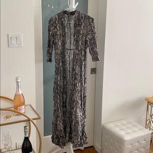 Long gray snakeskin dress maxi